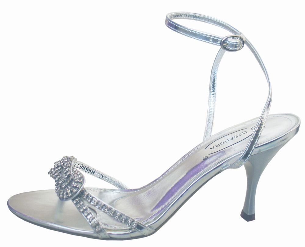 Diamante Silver Evening Sandals Sole Divas