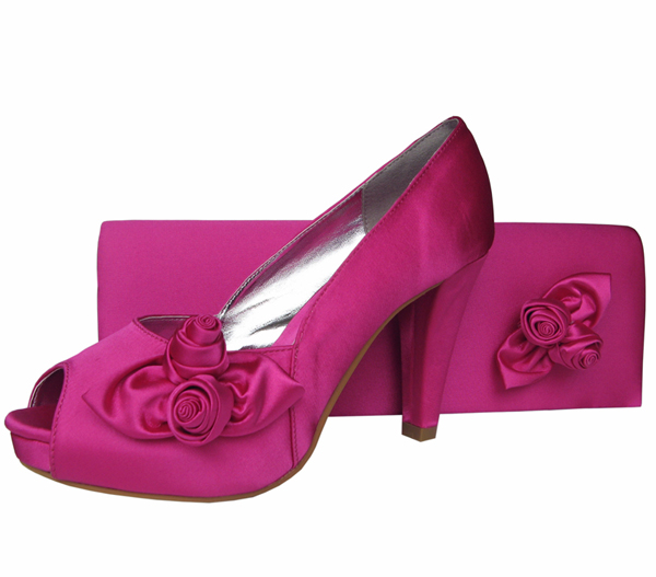 fuchsia pink satin evening shoes