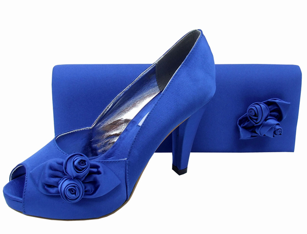 Rosebud Royal Blue Satin Clutch Bag