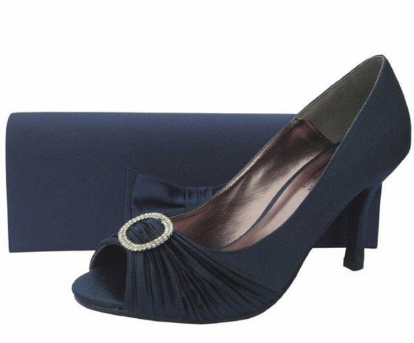 3adb64f8a7f0 Lunar Navy Satin   Diamante Ladies Shoes