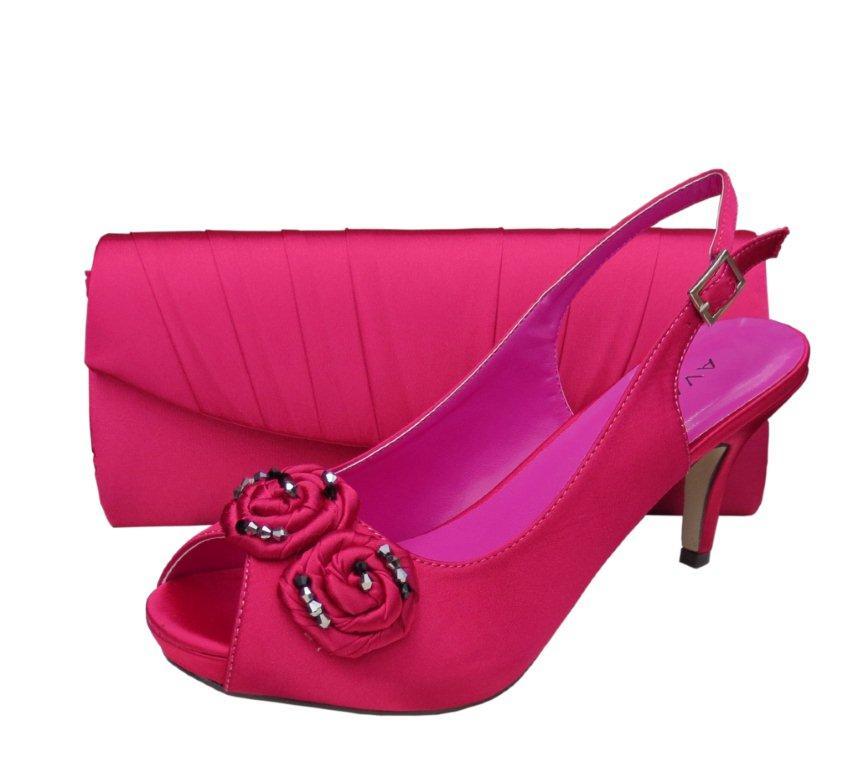 menbur fuchsia pink evening shoes