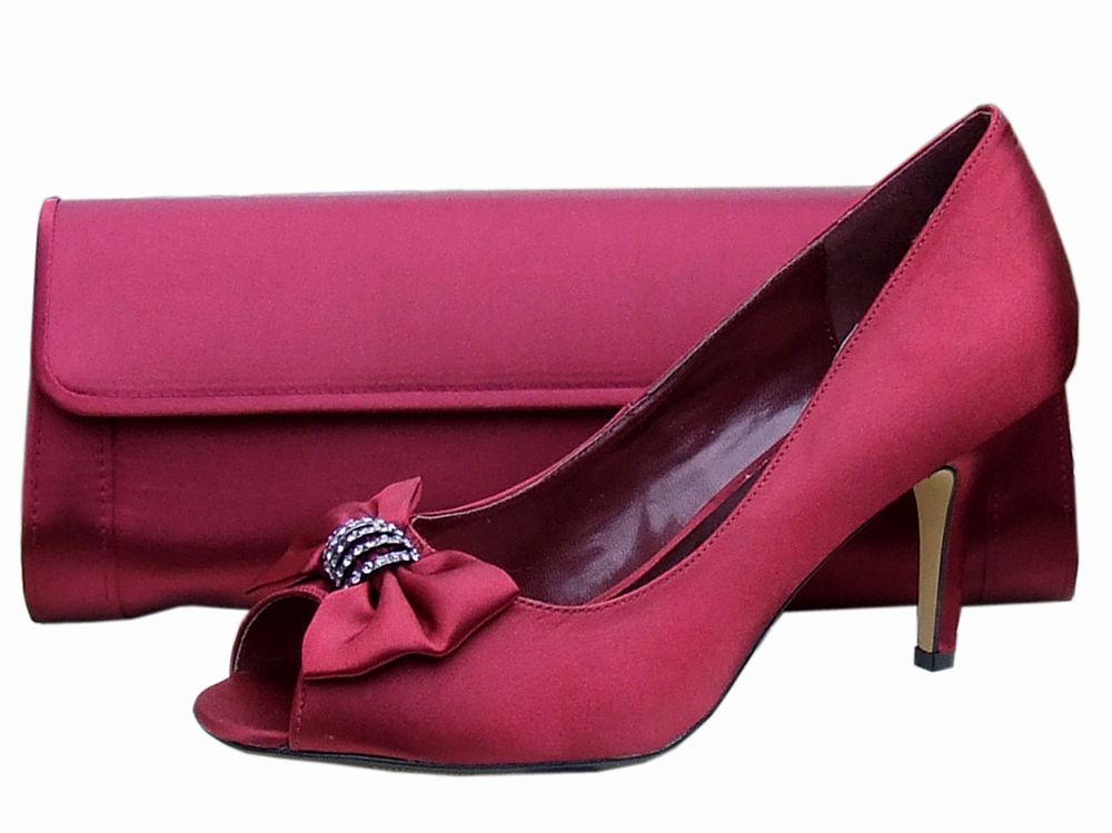 Burgundy Satin Peep Toe Shoe, Evening