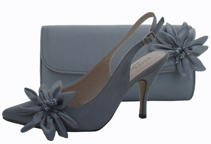 Pewter Evening Shoes And Matching Bag