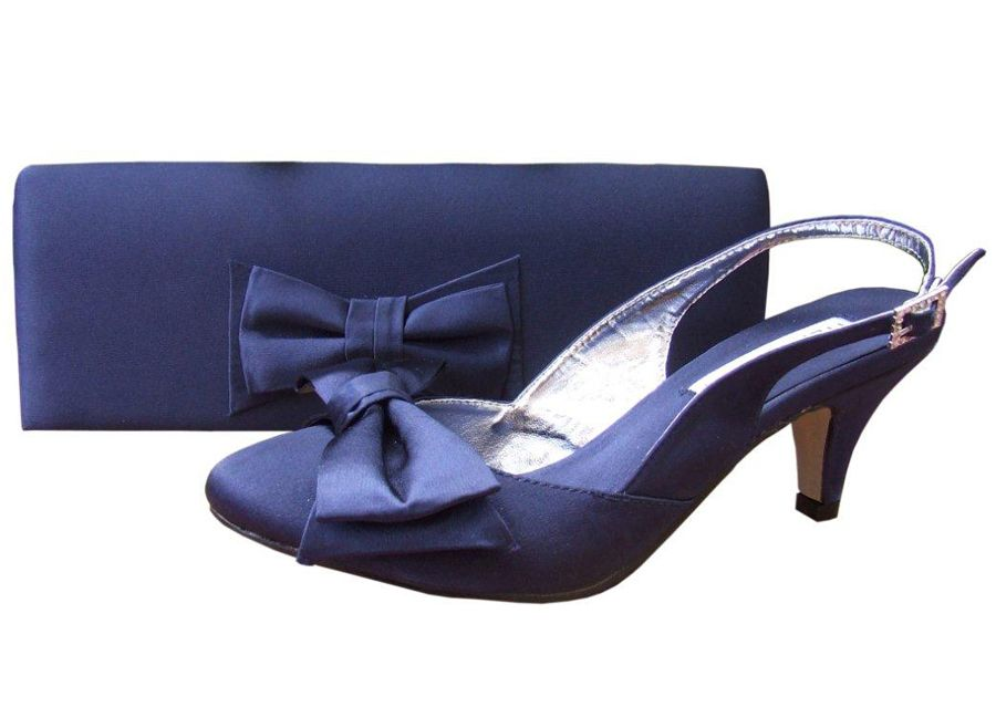 7d4cfd61b747 Twee Navy Satin Ladies Shoes